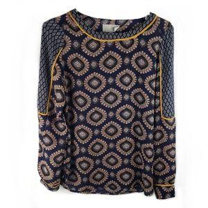 Joan Vass boho medallion blouse navy & gold S